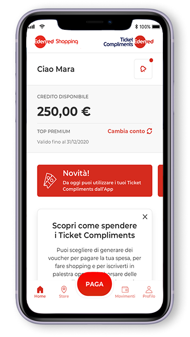 Ticket Compliments in formato APP